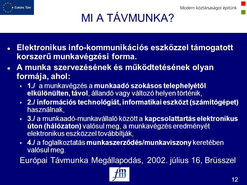 MI A TÁVMUNKA Elektronikus info-kommunikációs eszközzel támogatott korszerű munkavégzési forma.
