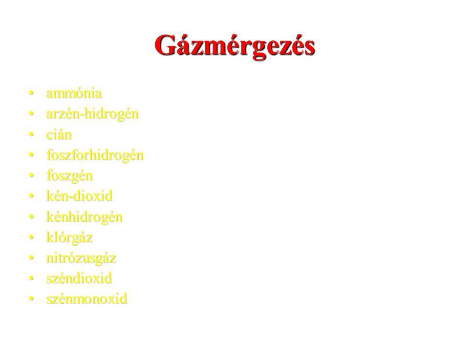 Gázmérgezés ammónia arzén-hidrogén cián foszforhidrogén foszgén
