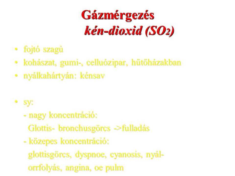 Gázmérgezés kén-dioxid (SO2)