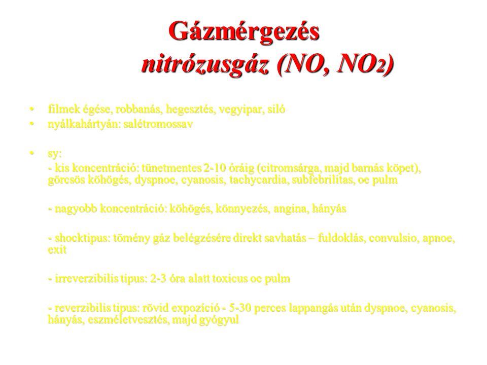 Gázmérgezés nitrózusgáz (NO, NO2)