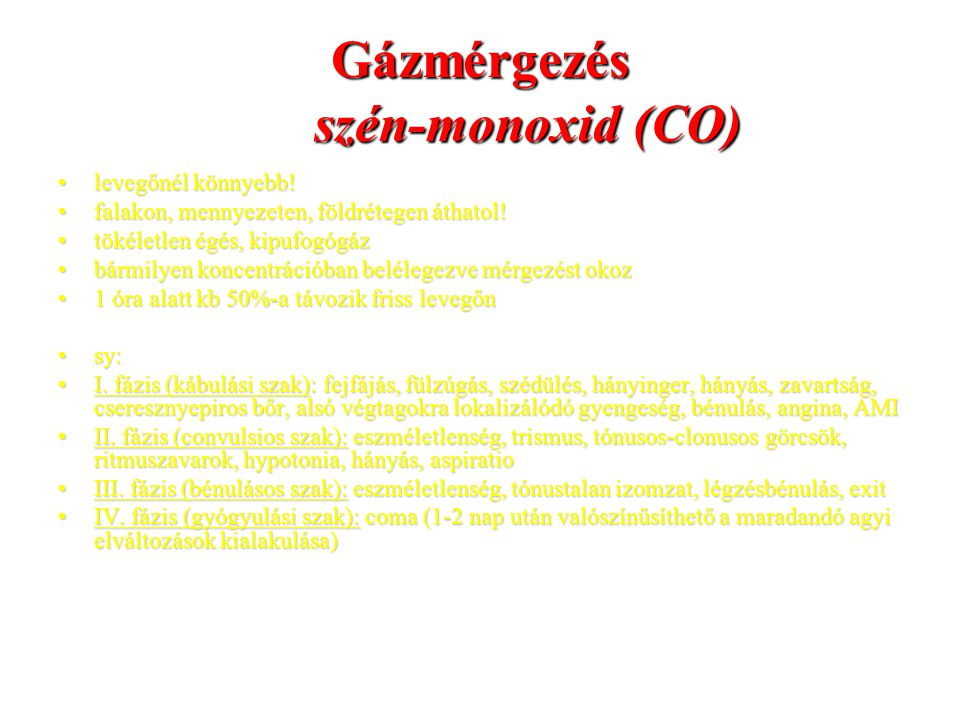 Gázmérgezés szén-monoxid (CO)