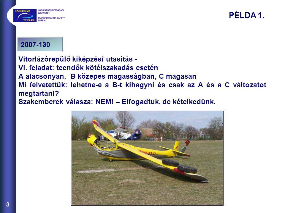 PÉLDA 1. 2007-130 Vitorlázórepülő kiképzési utasítás -