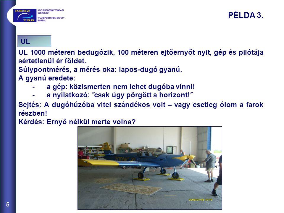 PÉLDA 3. UL. UL 1000 méteren bedugózik, 100 méteren ejtőernyőt nyit, gép és pilótája sértetlenül ér földet.