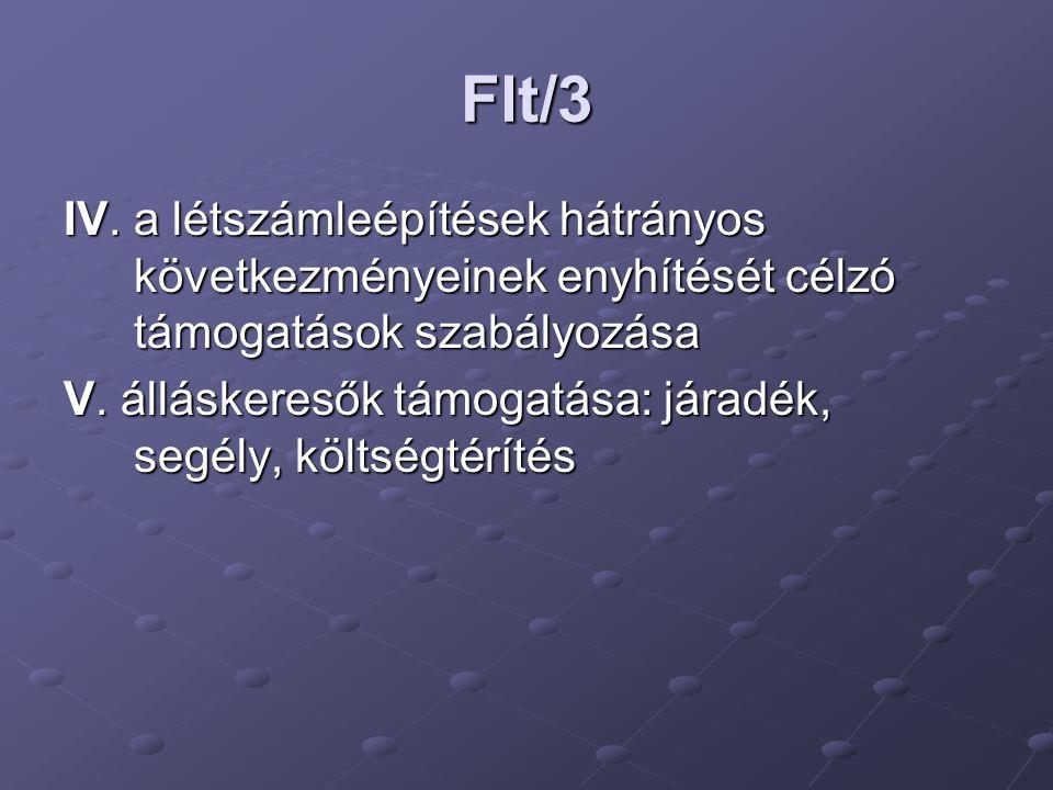 Flt/3 IV. a létszámleépítések hátrányos következményeinek enyhítését célzó támogatások szabályozása.