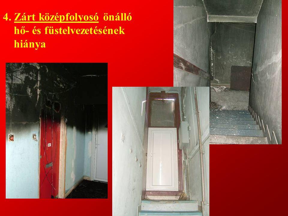 4. Zárt középfolyosó önálló hő- és füstelvezetésének hiánya