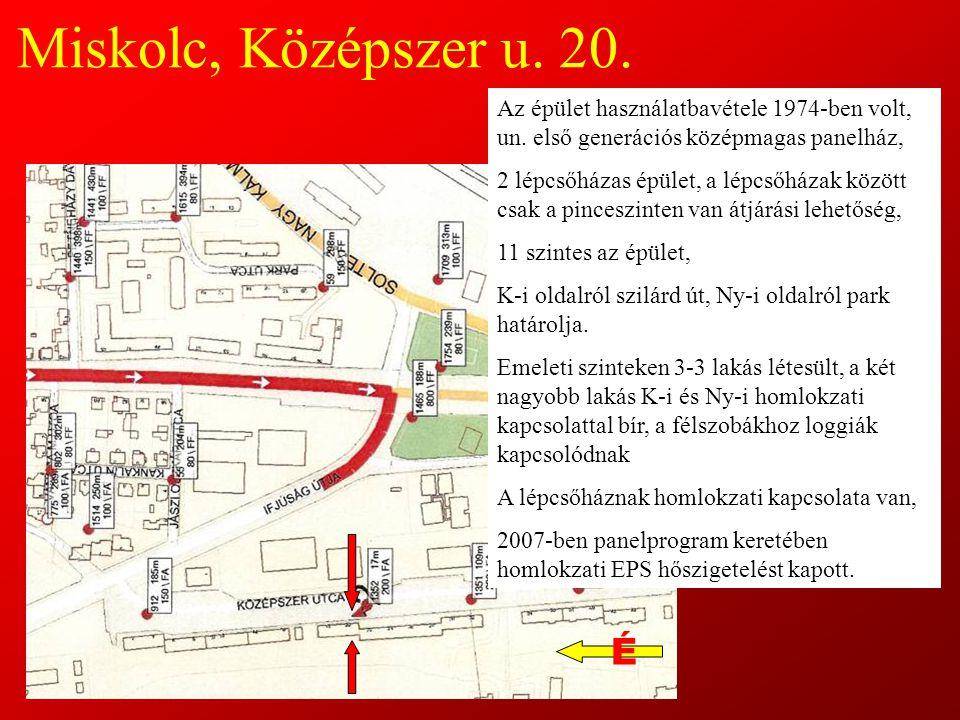 Miskolc, Középszer u. 20. Az épület használatbavétele 1974-ben volt, un. első generációs középmagas panelház,