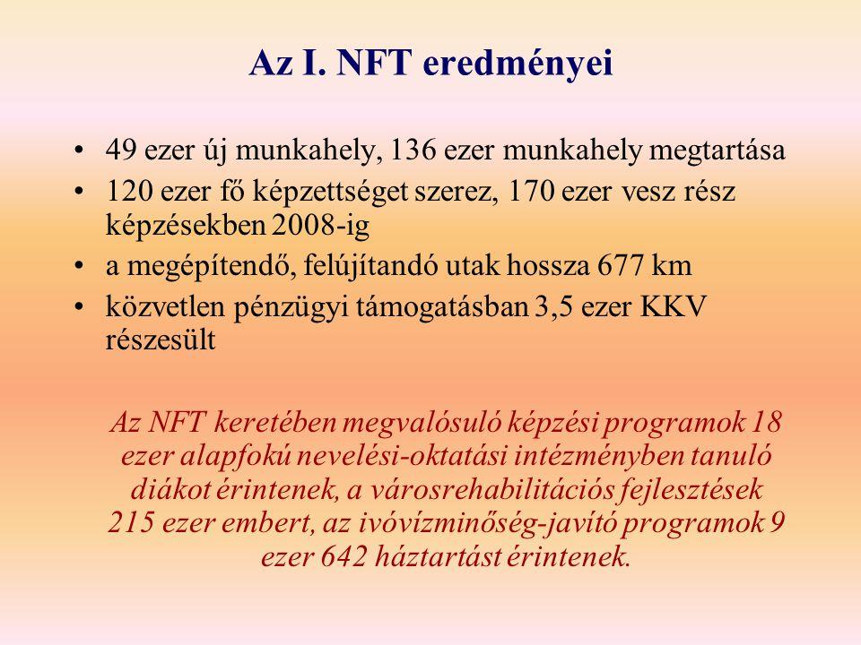 Az I. NFT eredményei 49 ezer új munkahely, 136 ezer munkahely megtartása. 120 ezer fő képzettséget szerez, 170 ezer vesz rész képzésekben 2008-ig.