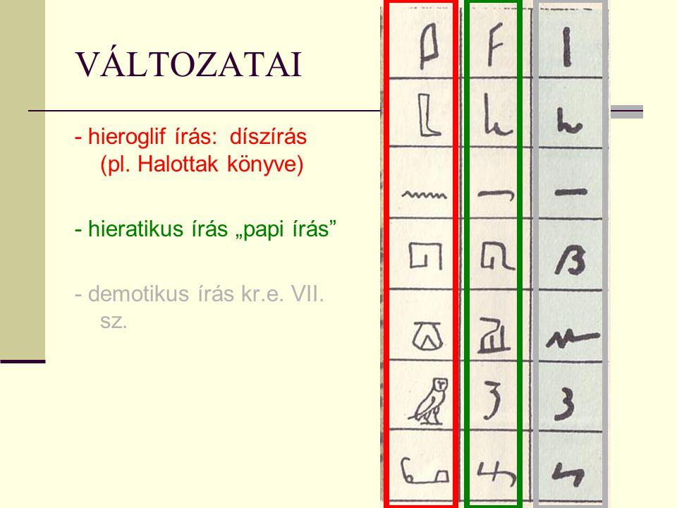 VÁLTOZATAI - hieroglif írás: díszírás (pl. Halottak könyve)