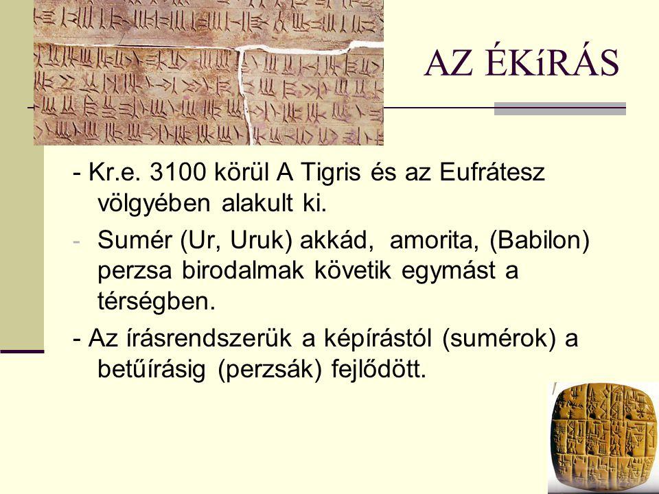 AZ ÉKíRÁS - Kr.e. 3100 körül A Tigris és az Eufrátesz völgyében alakult ki.