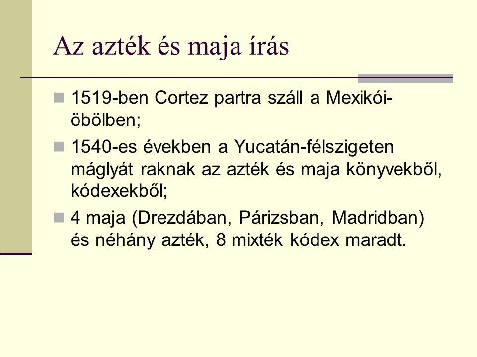 Az azték és maja írás 1519-ben Cortez partra száll a Mexikói-öbölben;