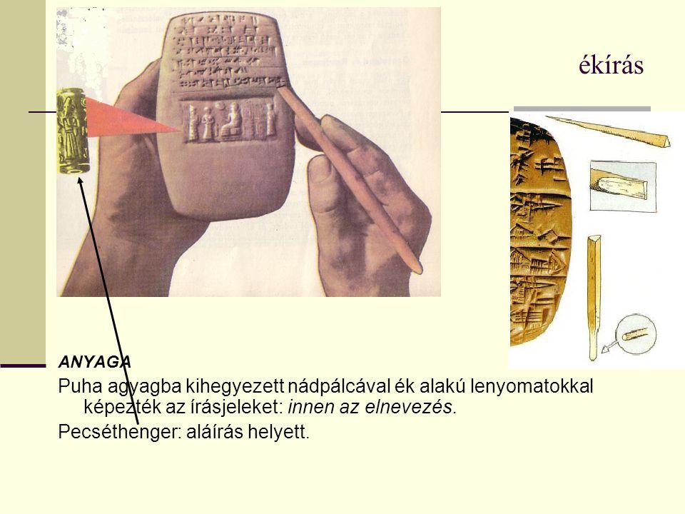 ékírás balra: agyagtábla szöveggel és pecséthengerrel készült jellel.