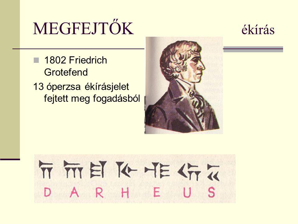 MEGFEJTŐK ékírás 1802 Friedrich Grotefend