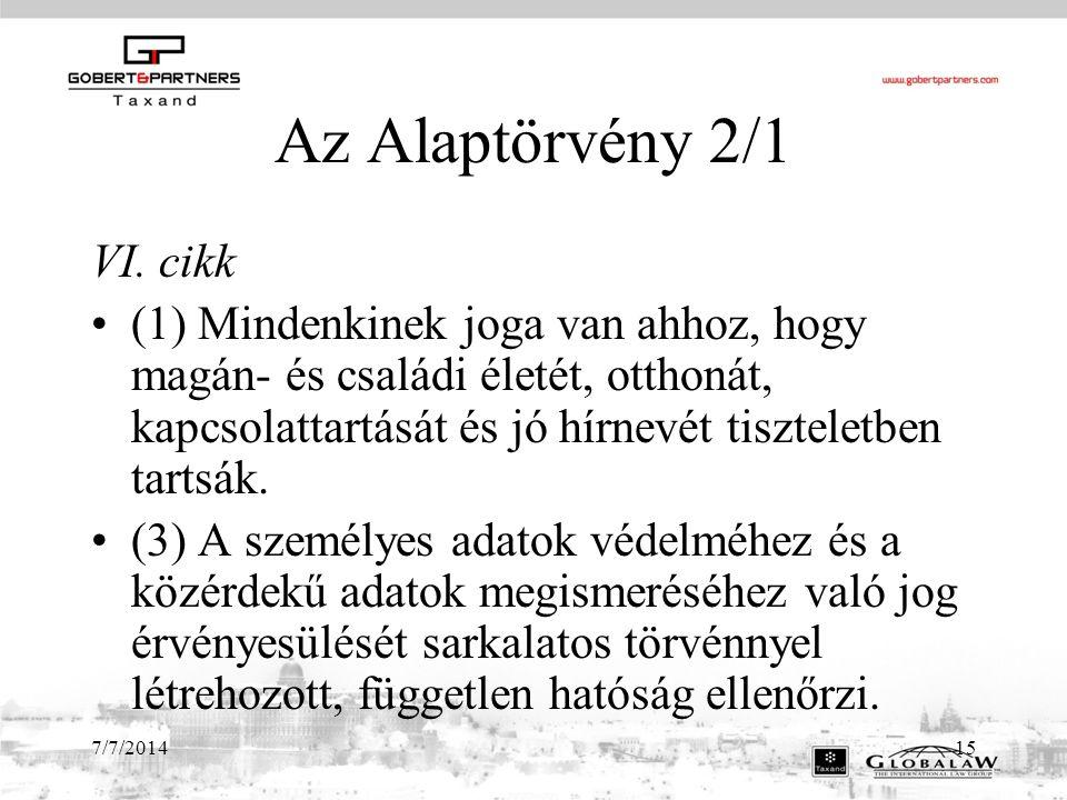 Az Alaptörvény 2/1 VI. cikk