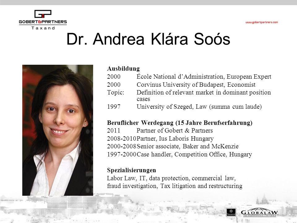 Dr. Andrea Klára Soós Ausbildung