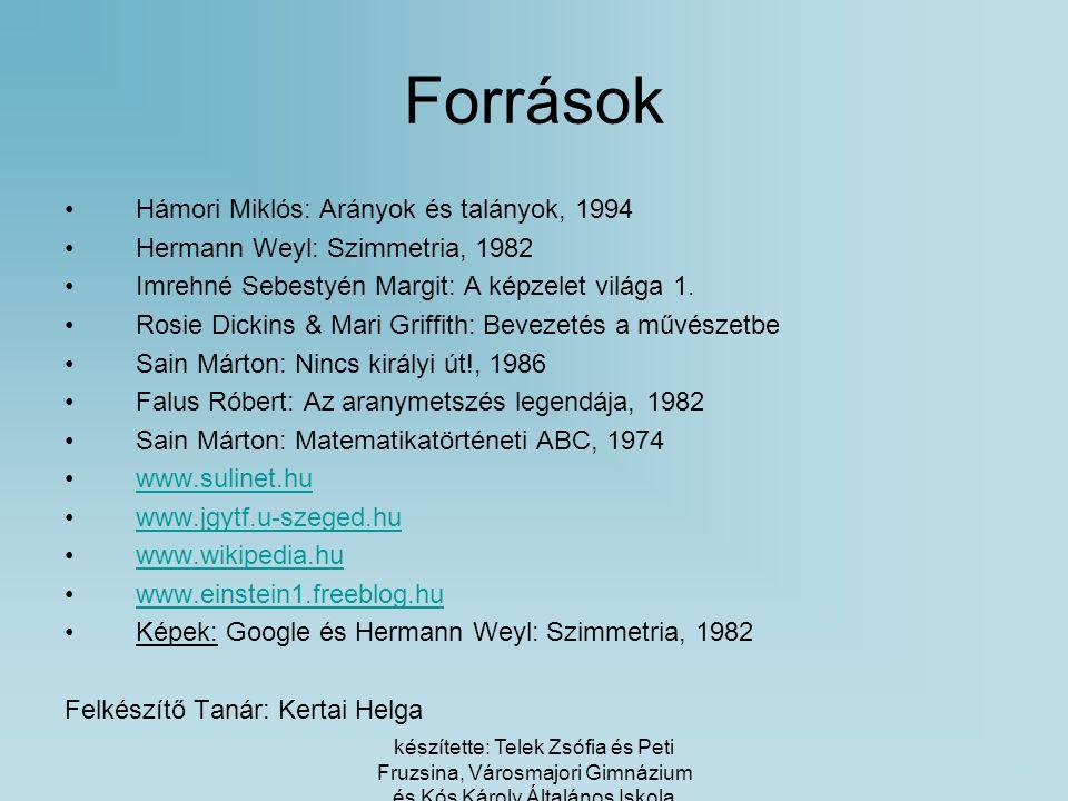 Források Hámori Miklós: Arányok és talányok, 1994