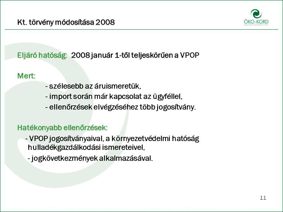 Kt. törvény módosítása 2008 Eljáró hatóság: 2008 január 1-től teljeskörűen a VPOP. Mert: - szélesebb az áruismeretük,