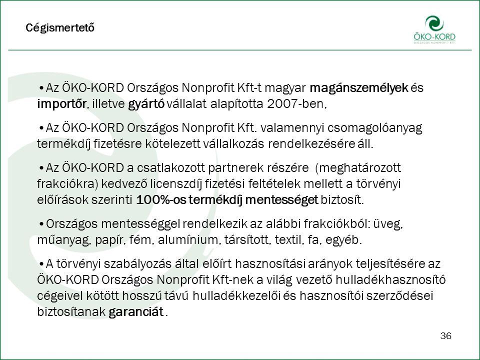 Cégismertető Az ÖKO-KORD Országos Nonprofit Kft-t magyar magánszemélyek és importőr, illetve gyártó vállalat alapította 2007-ben,