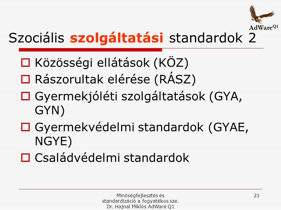 Szociális szolgáltatási standardok 2