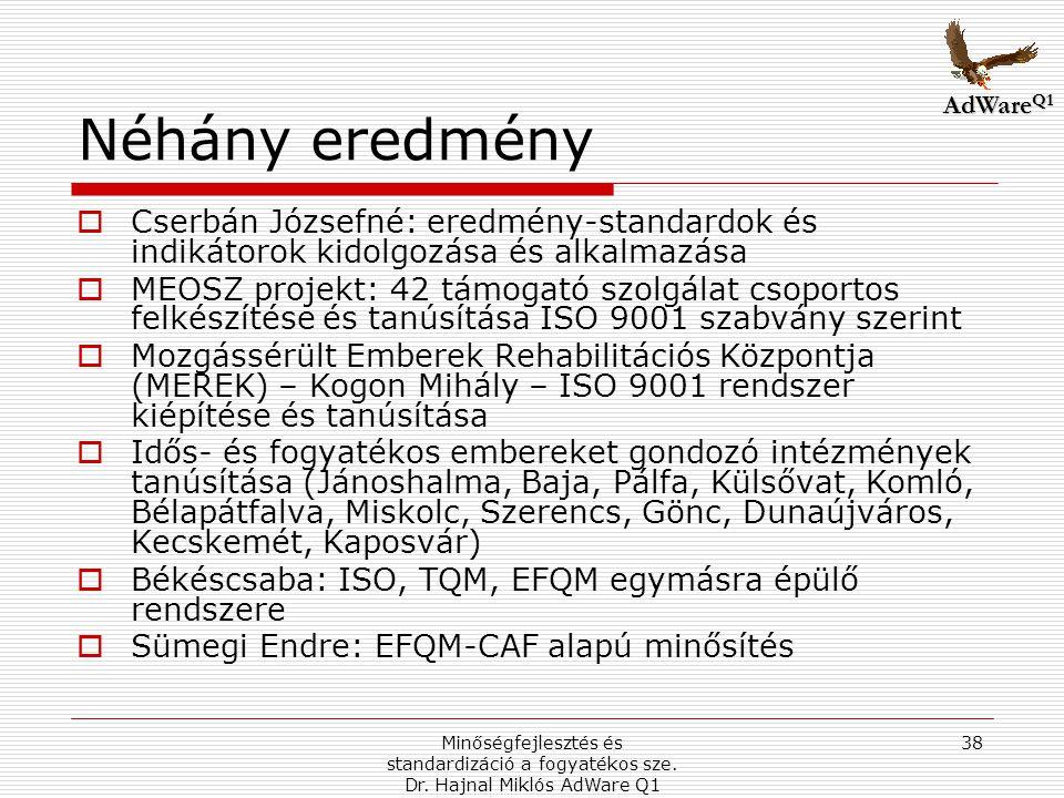 AdWareQ1 Néhány eredmény. Cserbán Józsefné: eredmény-standardok és indikátorok kidolgozása és alkalmazása.