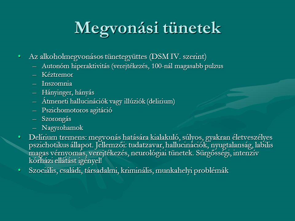 Megvonási tünetek Az alkoholmegvonásos tünetegyüttes (DSM IV. szerint)