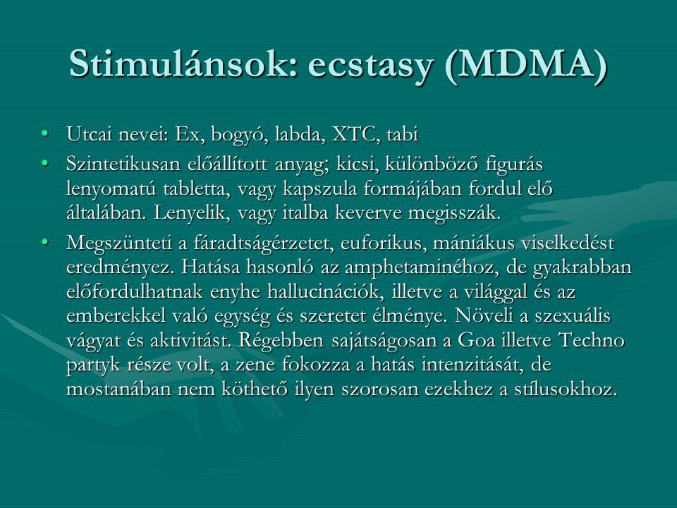Stimulánsok: ecstasy (MDMA)