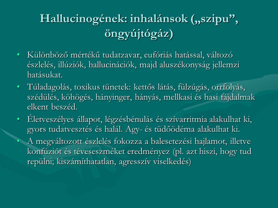 """Hallucinogének: inhalánsok (""""szipu , öngyújtógáz)"""