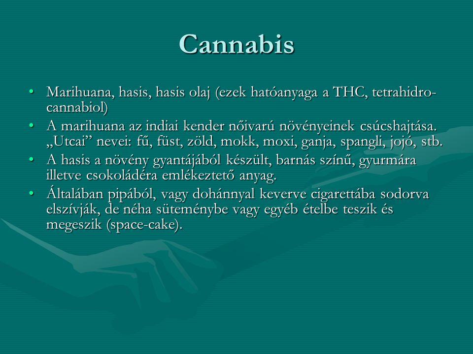 Cannabis Marihuana, hasis, hasis olaj (ezek hatóanyaga a THC, tetrahidro-cannabiol)