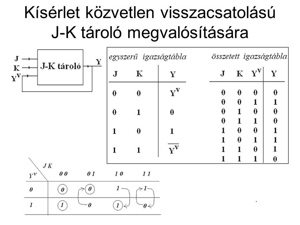 Kísérlet közvetlen visszacsatolású J-K tároló megvalósítására