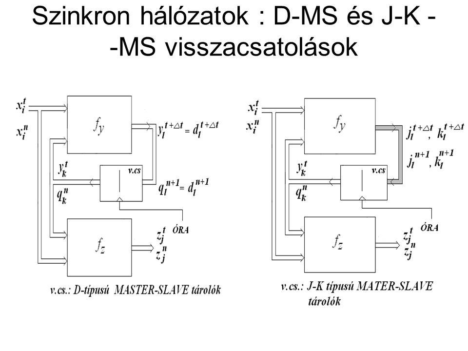 Szinkron hálózatok : D-MS és J-K --MS visszacsatolások