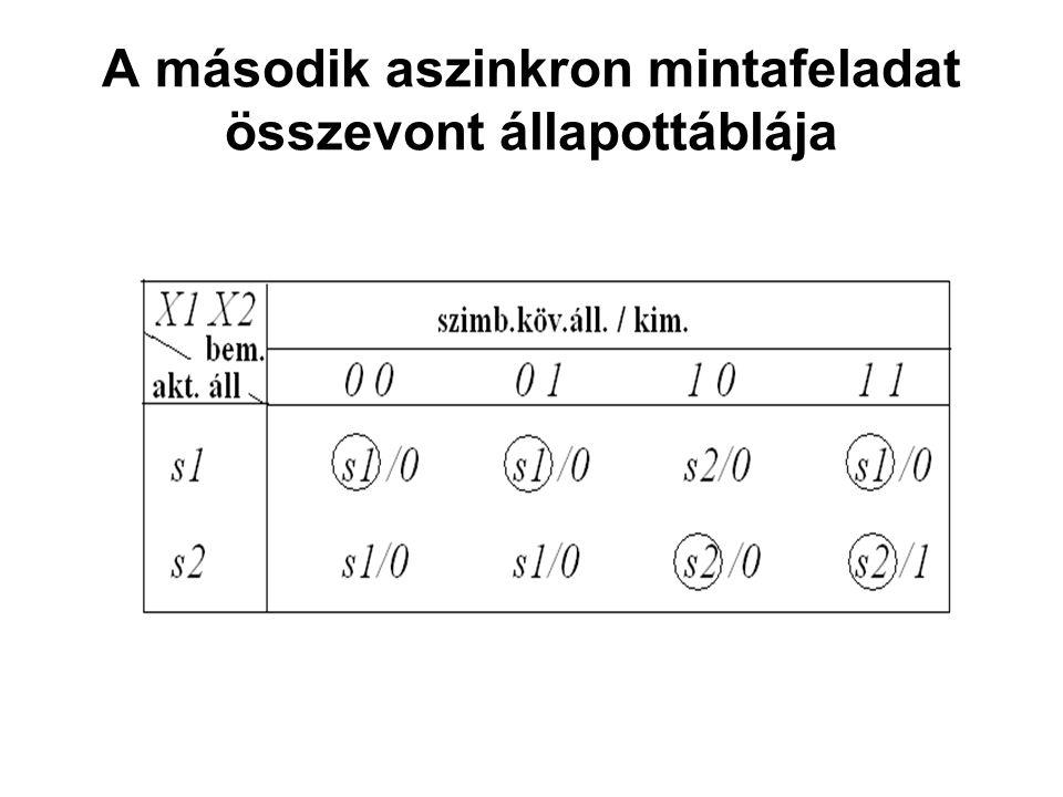 A második aszinkron mintafeladat összevont állapottáblája