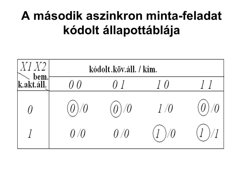 A második aszinkron minta-feladat kódolt állapottáblája