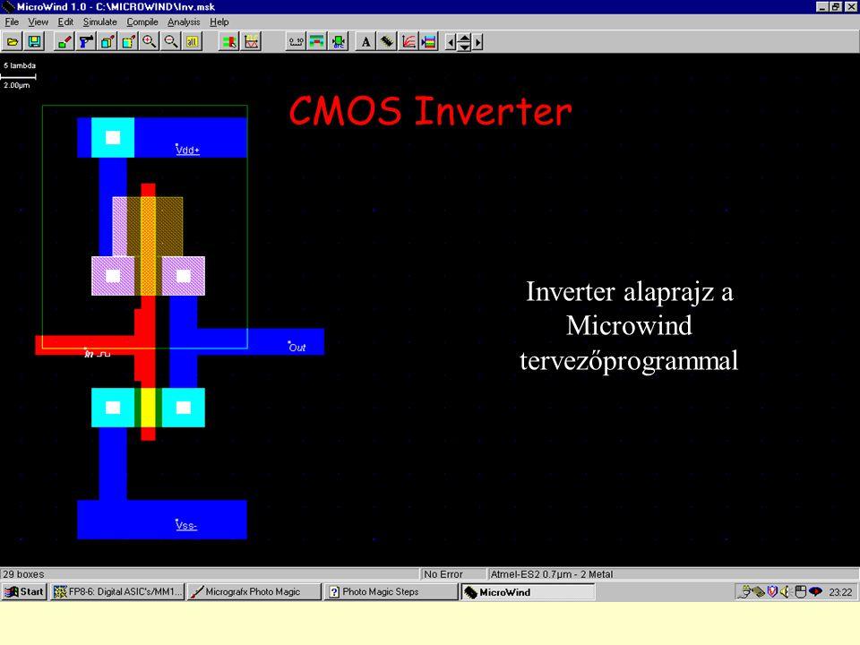 Inverter alaprajz a Microwind tervezőprogrammal