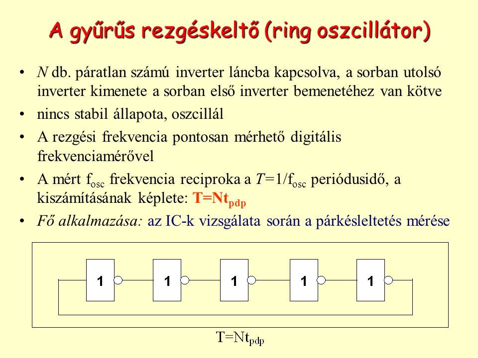 A gyűrűs rezgéskeltő (ring oszcillátor)