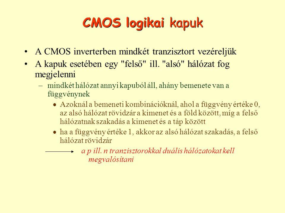CMOS logikai kapuk A CMOS inverterben mindkét tranzisztort vezéreljük