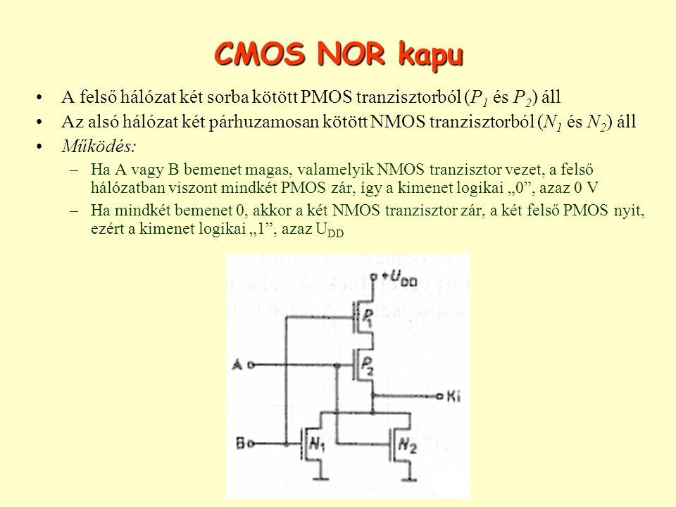 CMOS NOR kapu A felső hálózat két sorba kötött PMOS tranzisztorból (P1 és P2) áll.