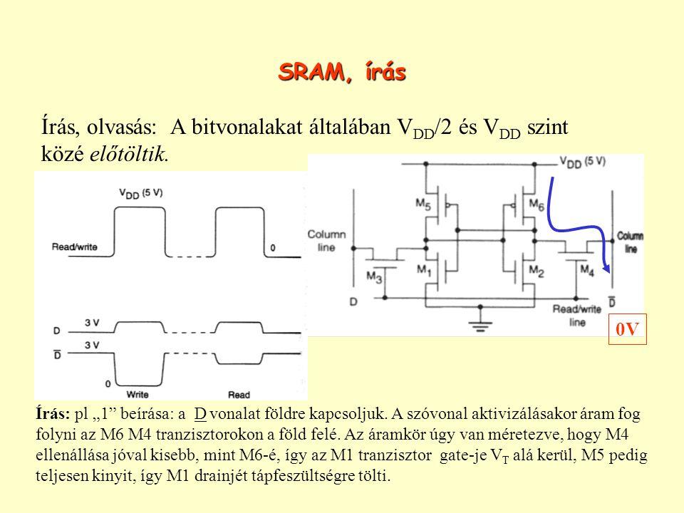 SRAM, írás Írás, olvasás: A bitvonalakat általában VDD/2 és VDD szint közé előtöltik. 0V.