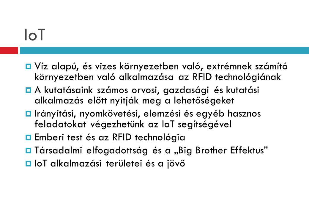 IoT Víz alapú, és vizes környezetben való, extrémnek számító környezetben való alkalmazása az RFID technológiának.