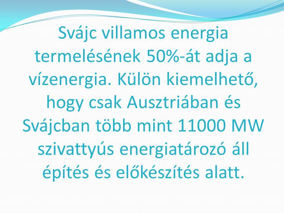 Svájc villamos energia termelésének 50%-át adja a vízenergia