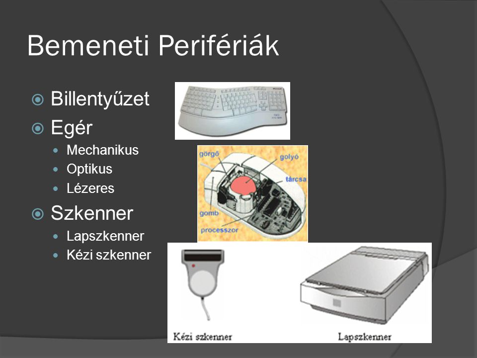 Bemeneti Perifériák Billentyűzet Egér Szkenner Mechanikus Optikus