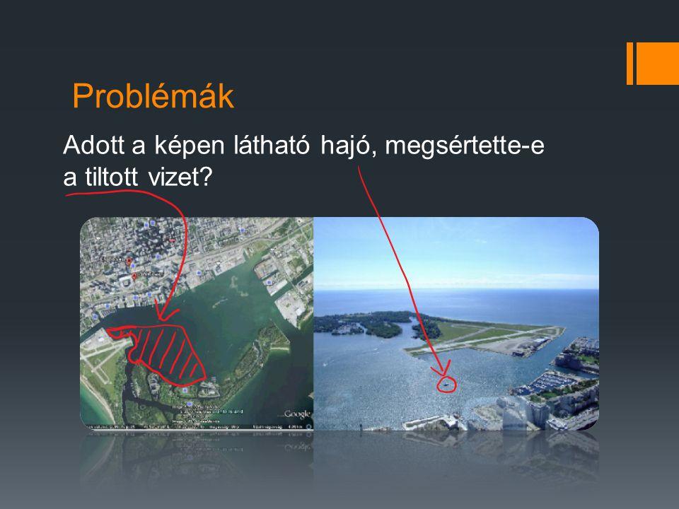 Problémák Adott a képen látható hajó, megsértette-e a tiltott vizet
