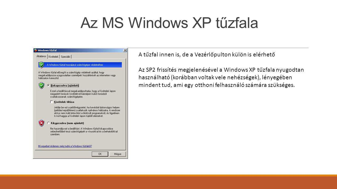 Az MS Windows XP tűzfala