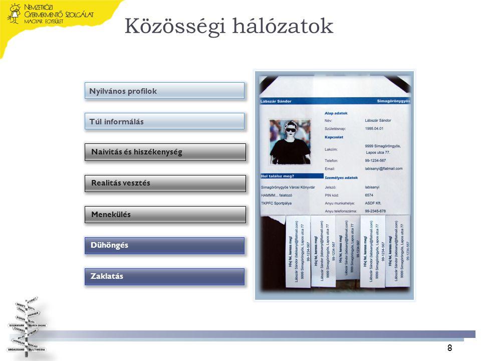 Közösségi hálózatok Nyilvános profilok Túl informálás