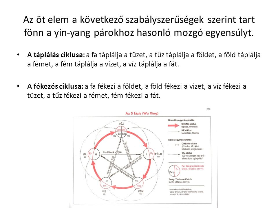 Az öt elem a következő szabályszerűségek szerint tart fönn a yin-yang párokhoz hasonló mozgó egyensúlyt.