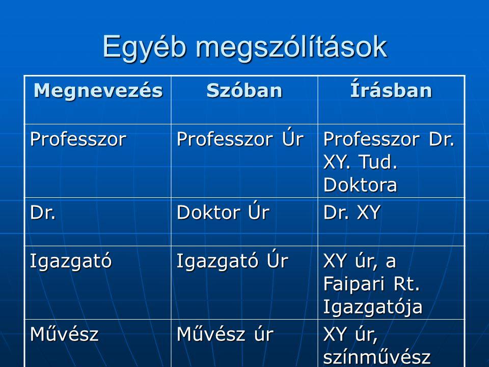 Egyéb megszólítások Megnevezés Szóban Írásban Professzor Professzor Úr