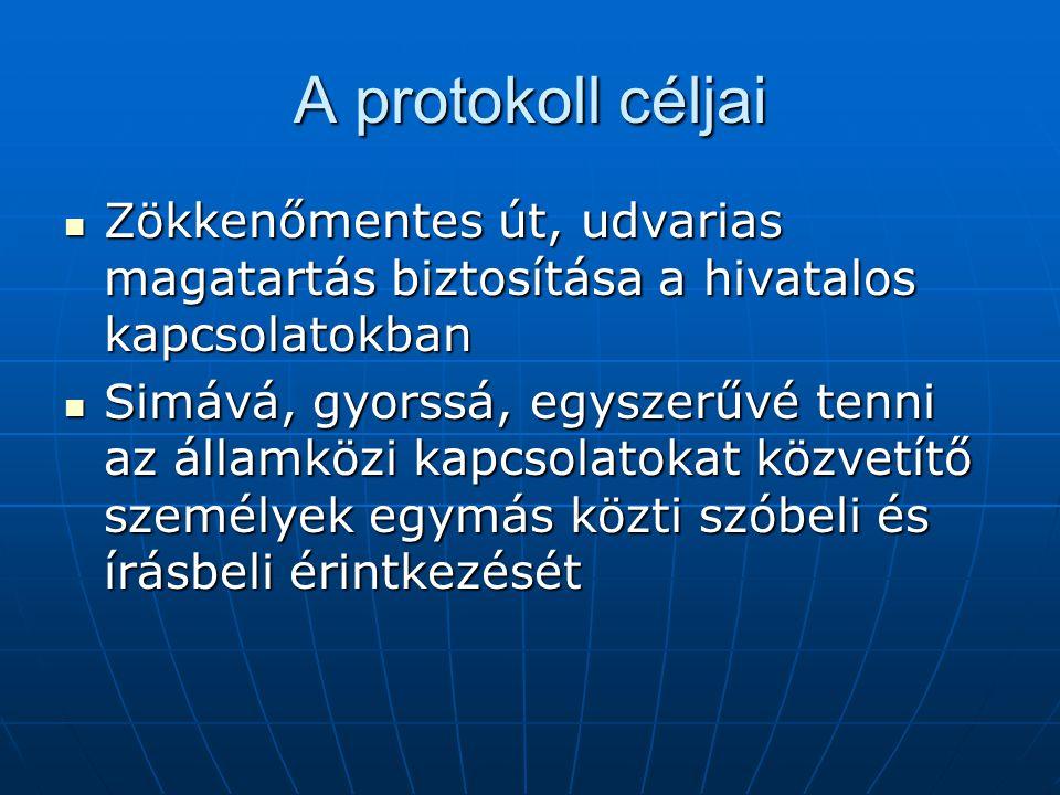 A protokoll céljai Zökkenőmentes út, udvarias magatartás biztosítása a hivatalos kapcsolatokban.