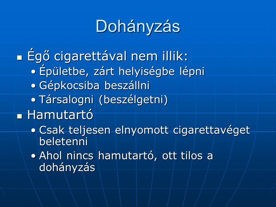 Dohányzás Égő cigarettával nem illik: Hamutartó