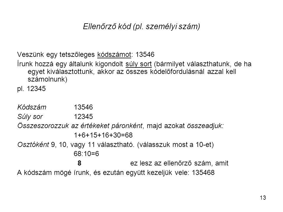 Ellenőrző kód (pl. személyi szám)