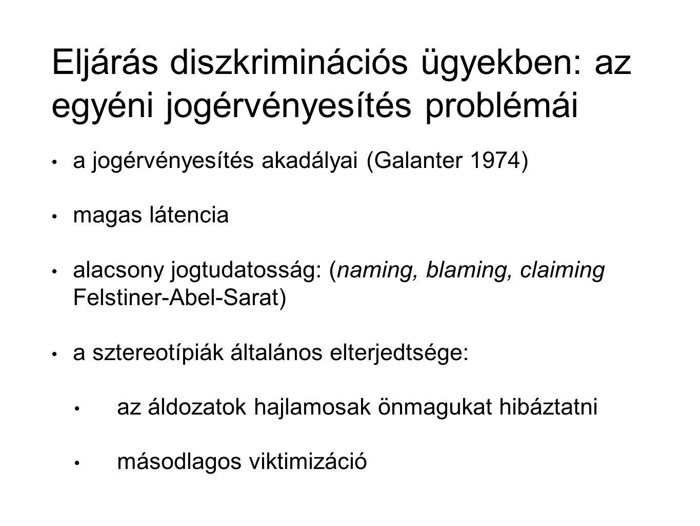 Eljárás diszkriminációs ügyekben: az egyéni jogérvényesítés problémái