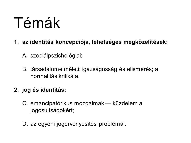 Témák az identitás koncepciója, lehetséges megközelítések:
