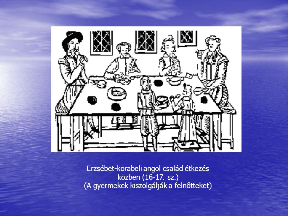 Erzsébet-korabeli angol család étkezés közben (16-17. sz.)